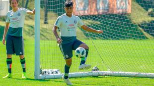 Efrain Álvarez durante una concentración de la selección sub 17.