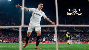 Ben Yedder celebra su gol a la Lazio en la Europa League.