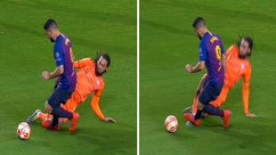 No hubo penal de Denayer sobre Luis Suárez