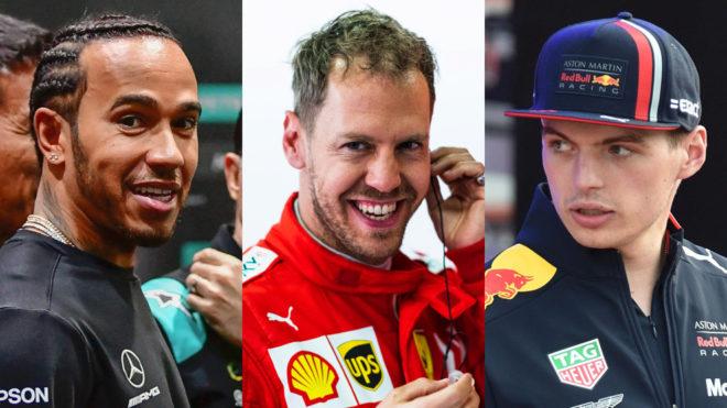 Lewis Hamilton, Sebastian Vettel y Max Verstappen