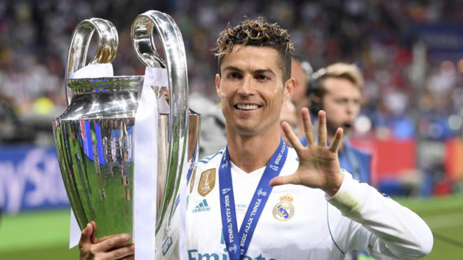 Cristiano Ronaldo celebrating his fifth Champions League trophy.