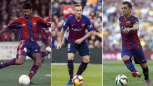 Guardiola, Arthur y Xavi, con el balón en los pies