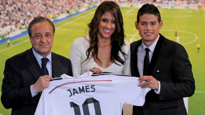 Florentino Perez, Daniela Ospina and James.