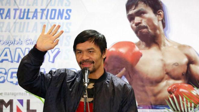 Manny Pacquio a su llegada a Filipinas