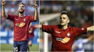 Torres y Villar celebran un gol de Osasuna