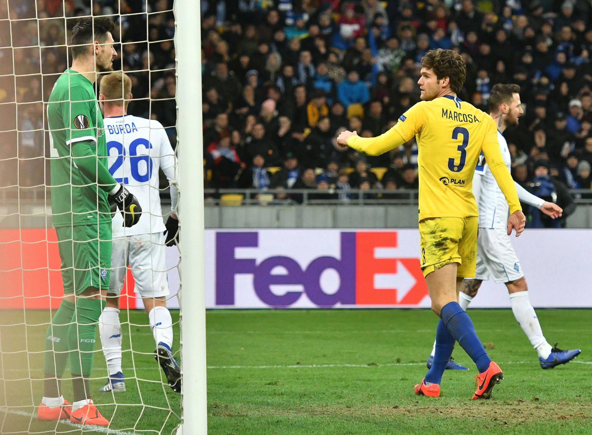 Chelseas Spanish defender <HIT>Marcos</HIT><HIT>Alonso</HIT> Mendoza (R) celebrates after scoring a goal during the UEFA Europa League round of 16, second leg football match between FC Dynamo Kyiv and Chelsea FC at NSK Olimpiyskyi stadium in Kiev on March 14, 2019. (Photo by GENYA SAVILOV / AFP)