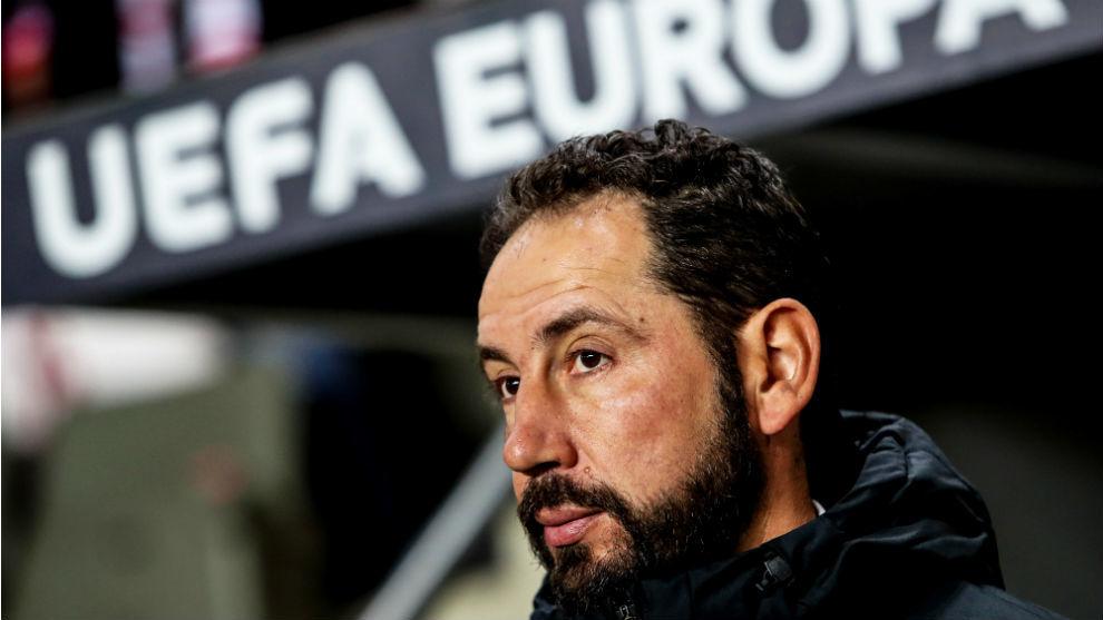 El técnico soriano Pablo Machín (43), en el Slavia-Sevilla.