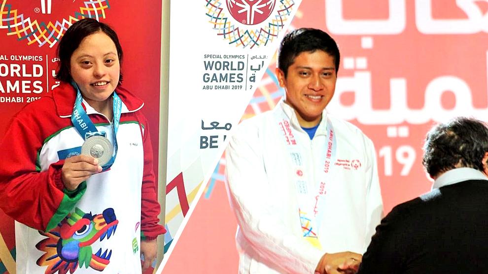 Adriana Iturriaga y José Alberto Pérez Córdova con sus medallas