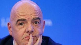 Infantino, durante la rueda de prensa posterior al Consejo de la FIFA.