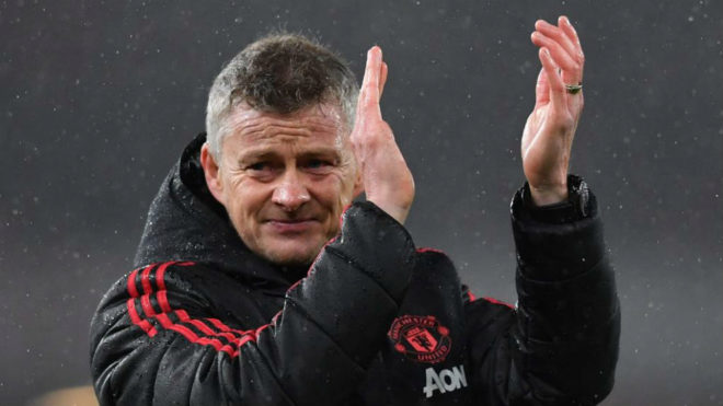 Solskjaer applauding after a Manchester United match