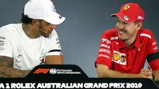 Hamilton y Vettel, en la rueda de prensa de la FIA