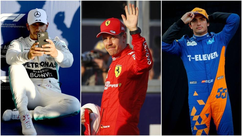 Hamilton, Vettel y Sainz.