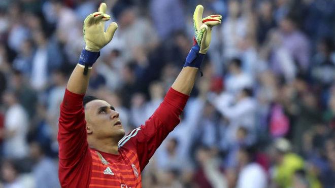 Keylor celebra uno de los goles del Real Madrid.