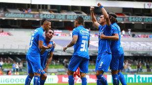 Celebración de los jugadores del Cruz Azul/