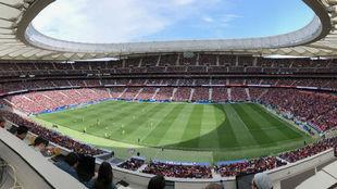 Panorámica del Wamda Metropolitano en el Atlético-Barcelona.