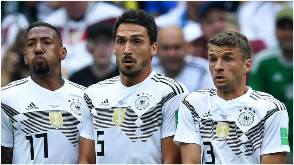Boateng, Hummels y Müller, durante el Mundial de Rusia.