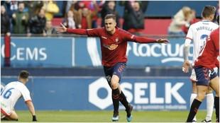 Juan Villar celebra el gol que marcó al Majadahonda