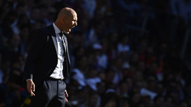 Zinedine Zidane during the match against Celta