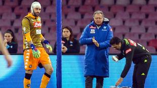 David Ospina, en el partido de este domingo con el Nápoles.