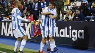 Los jugadores del Leganés celebran un gol.