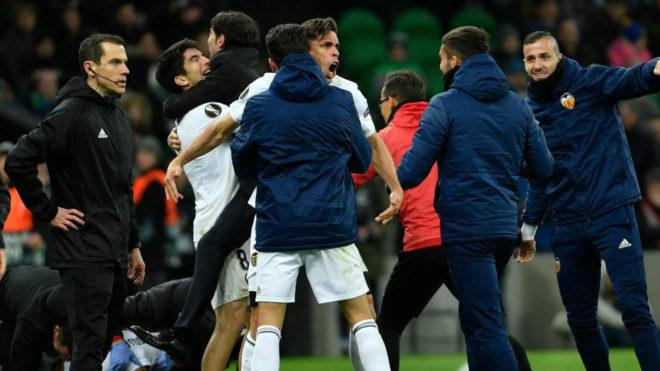 Valencia celebrate Guedes's goal at Krasnodar.