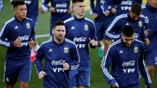 Messi, en su primer entrenamiento en Valdebebas el martes.