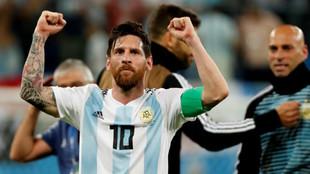 Leo Messi, con la selección argentina en el Mundial 2018