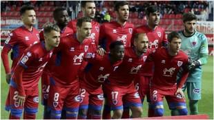 El once incial del Numancia que jugó con el Málaga el pasado lunes