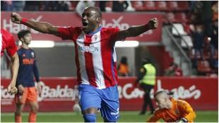 Babin celebra uno de los goles marcados esta temporada con el Sporting