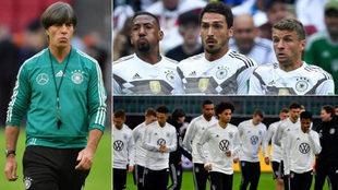 Löw, Boateng, Hummels, Müller, Sané y la selección alemana.