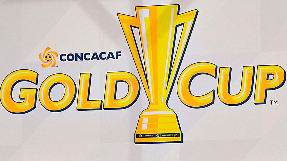 Logo de la Copa Oro durante una conferencia de prensa.