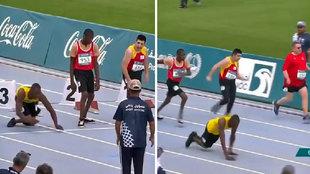 Un sprinter paralímpico que se impulsa con los brazos emociona a...