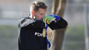 Vaclik, en un entrenamiento con el Sevilla.