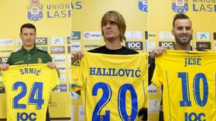 Srnic, Halilovic y Jesé, posando como jugadores amarillos