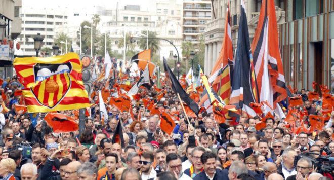 Afición del Valencia en el día del Centenario.