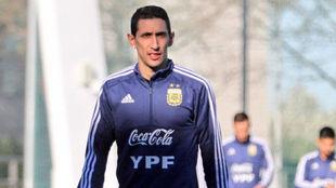 Ángel Di María, en un entrenamiento con la selección argentina.