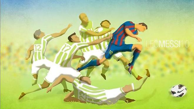Una pintura de Messi se vuelve realidad ante el Betis.