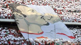 Tifo de hace unos años recordando a Antonio Puerta.