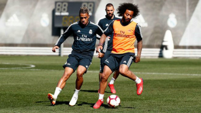 Marcelo and Mariano during the session on Thursday at Valdebebas.