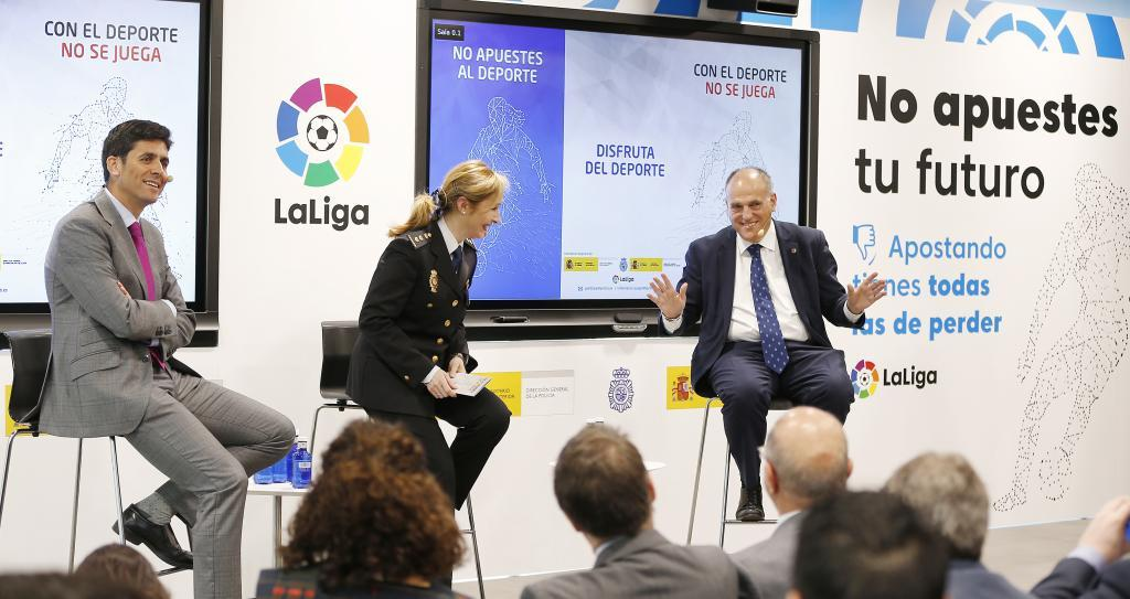 Tebas at an event to raise awareness of the dangers of sports betting.