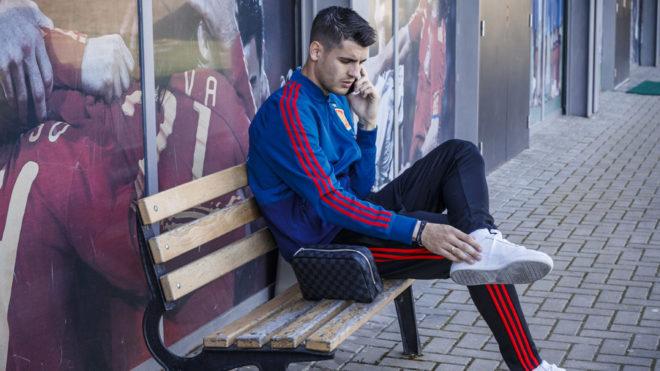 Alvaro Morata yesterday at the Spanish national team's HQ