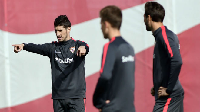 Sergio Escudero, en un entrenamiento.