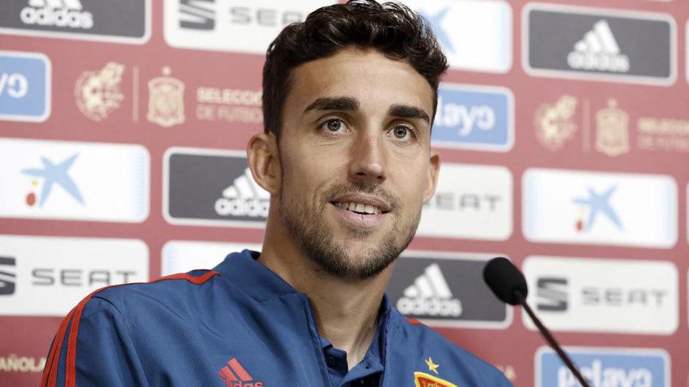 El delantero del Getafe, en rueda de prensa con la selección