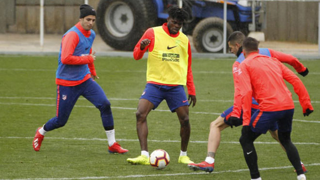 Thomas Partey in a training session with Atletico Madrid.