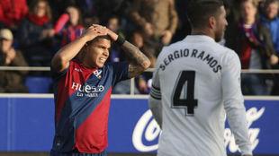 El Cucho, en el partido de ida ante el Madrid.