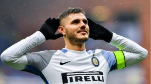 Icardi celebra un gol con el Inter de Milán