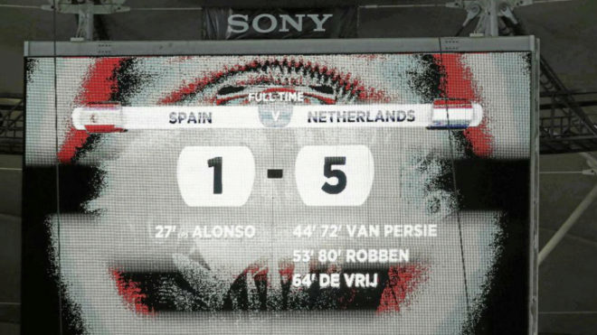 Scoreboard after Spain's humiliating defeat to the Netherlands.