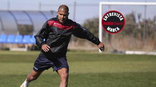 Salomón Rondón, en un entrenamiento con Venezuela en Madrid.
