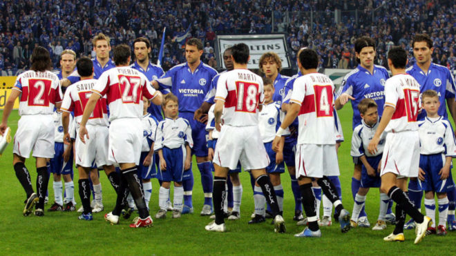 Sevilla and Schalke's players before one of the UEFA Cup games in...