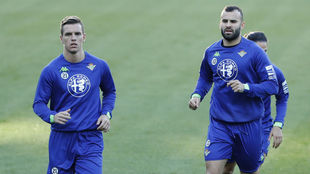 Lo Celso y Jesé, en un entrenamiento del Betis.